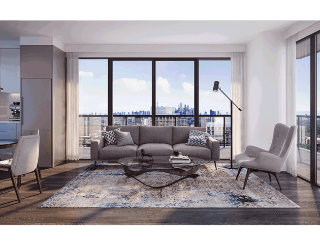 65 Broadway Condos - Suite - Living - Interior Render