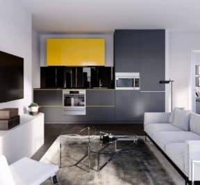 Artists' Alley Condos - Living Space - Interior Render