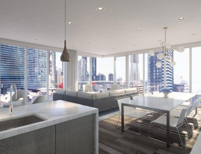 Bungalow on Mercer Condos - Suite - Living and Dining - Interior Render