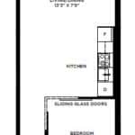 The Logan Residences - 1 Bed and 1 Bath - Coxwell Floorplan