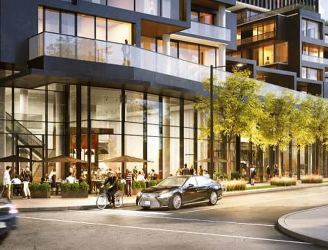 Galleria On the Park - Street Level View of Block 5 - Exterior Render