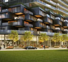 Galleria On the Park - Street Level View of Lower Block - Exterior Render