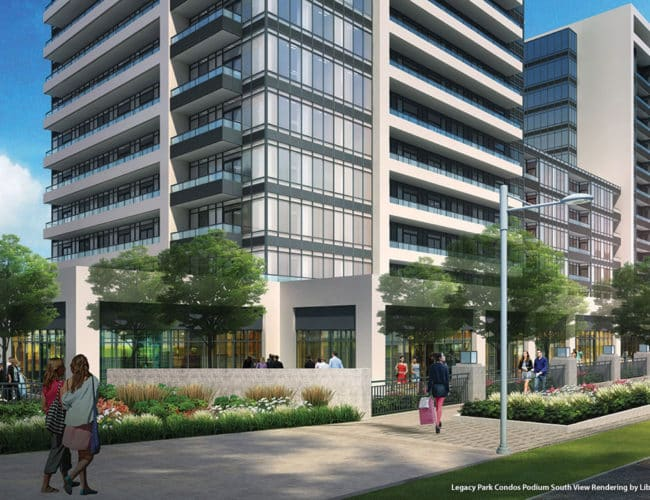 Legacy Park Condos Podium South View Rendering by Liberty Development