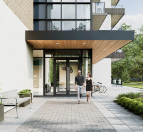 The King's Mill at Backyard Condos - Street Level View - Exterior Render of Entrance