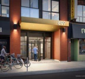 The Logan Residences - Street Level View - Entrance Rendering