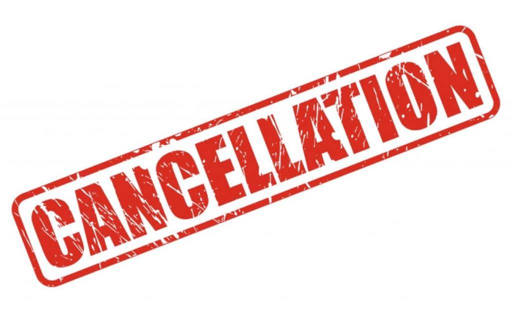 cancelled sign for Cosmos Condo