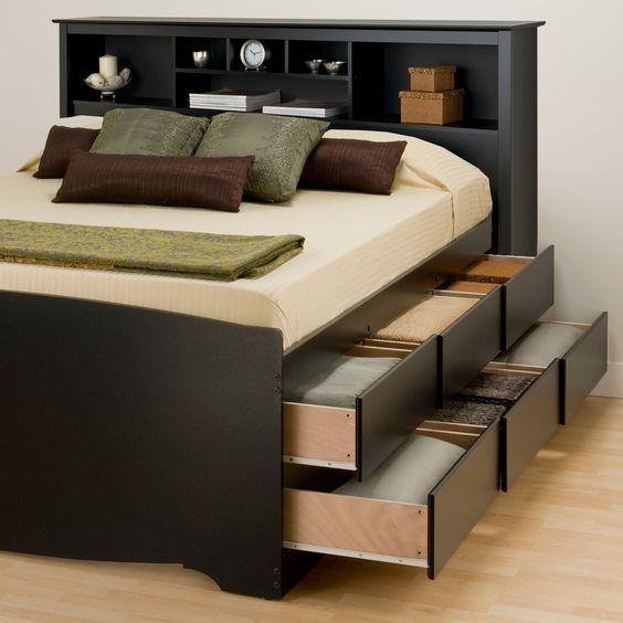 A bed with drawers