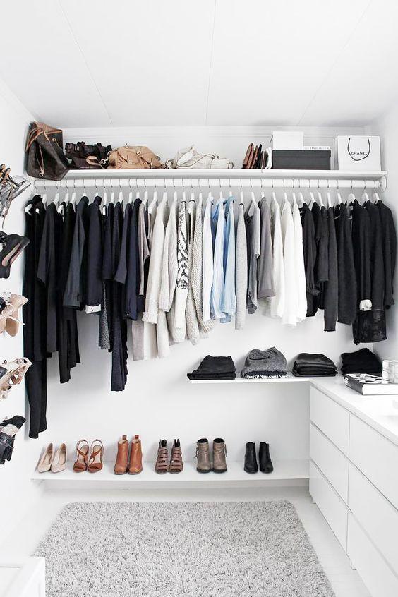 A wardrobe to inspire small room organization ideas