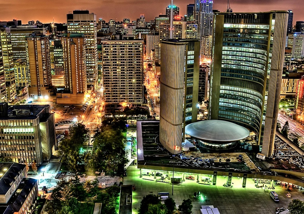 night light view in Toronto
