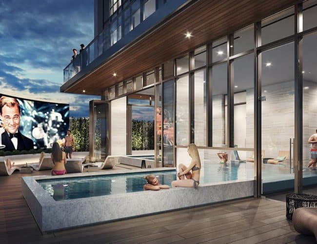 Central Condos - Outside Pool Entertainment - Interior Render