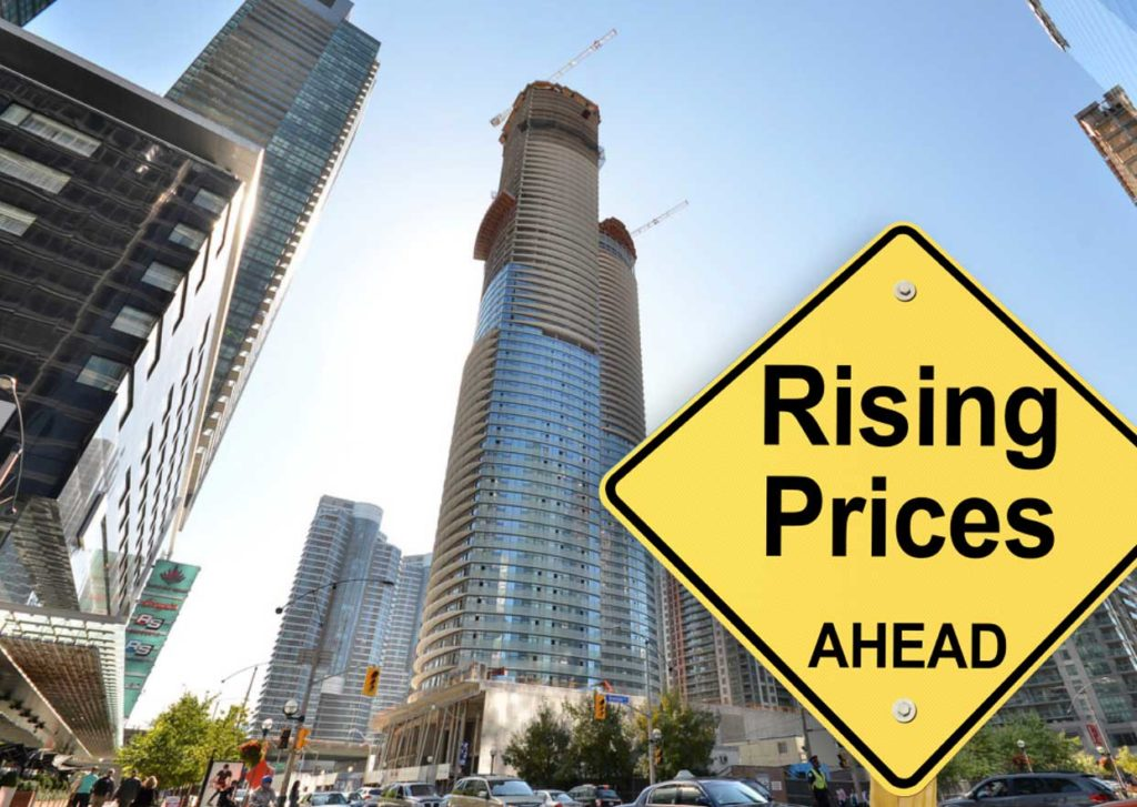 City condo with a rising price sign