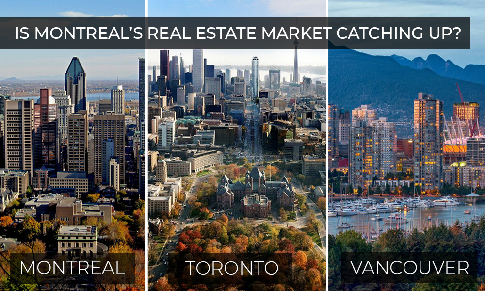 Montreal's Skyline next to Toronto and Vancouver