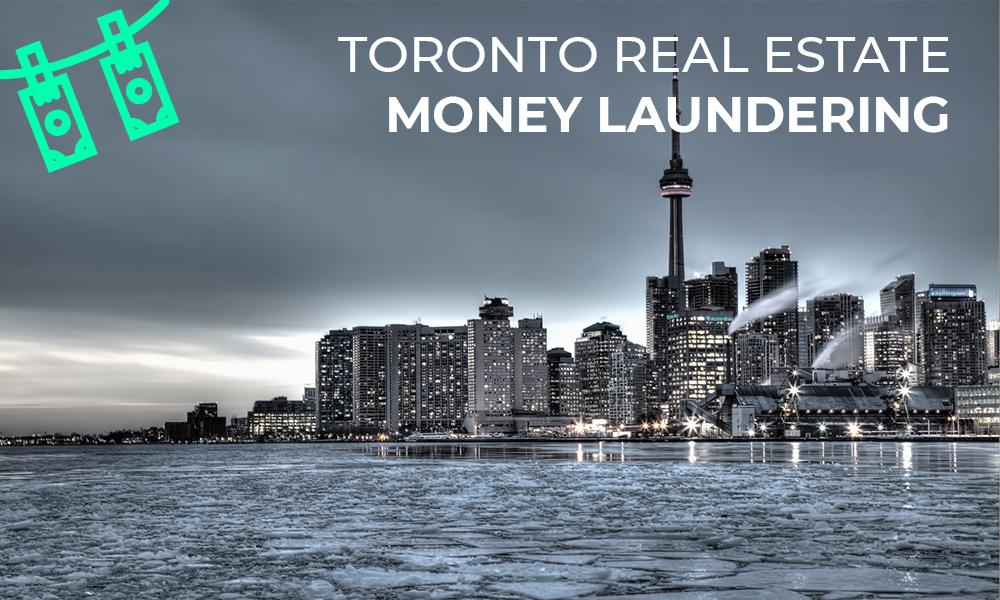 Toronto's Skyline of Condos with Money Laundering icon