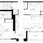 XO Condos - 695 (2BD) - Floorplan