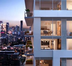 River and Fifth - Up Close Facade - Rendering