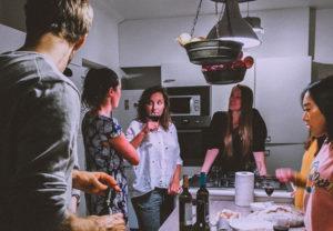 friends inside the kitchen