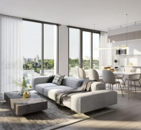 The ANX Condos - Suite - Living and Dining Room - Interior Render