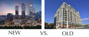 new and old condo buildings in Toronto