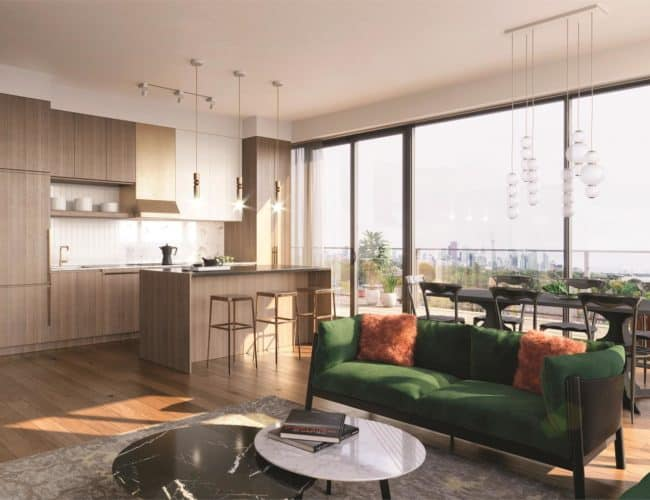 The Poet Condos - Interior Suite Living Space Render
