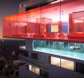 E Condos - Pool - Exterior Render