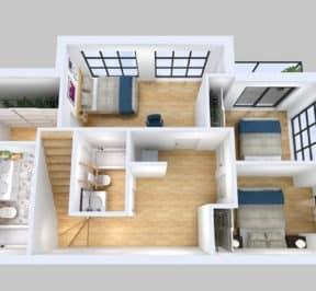 Elevate at Logan - Suite - Top Down View - Interior Render