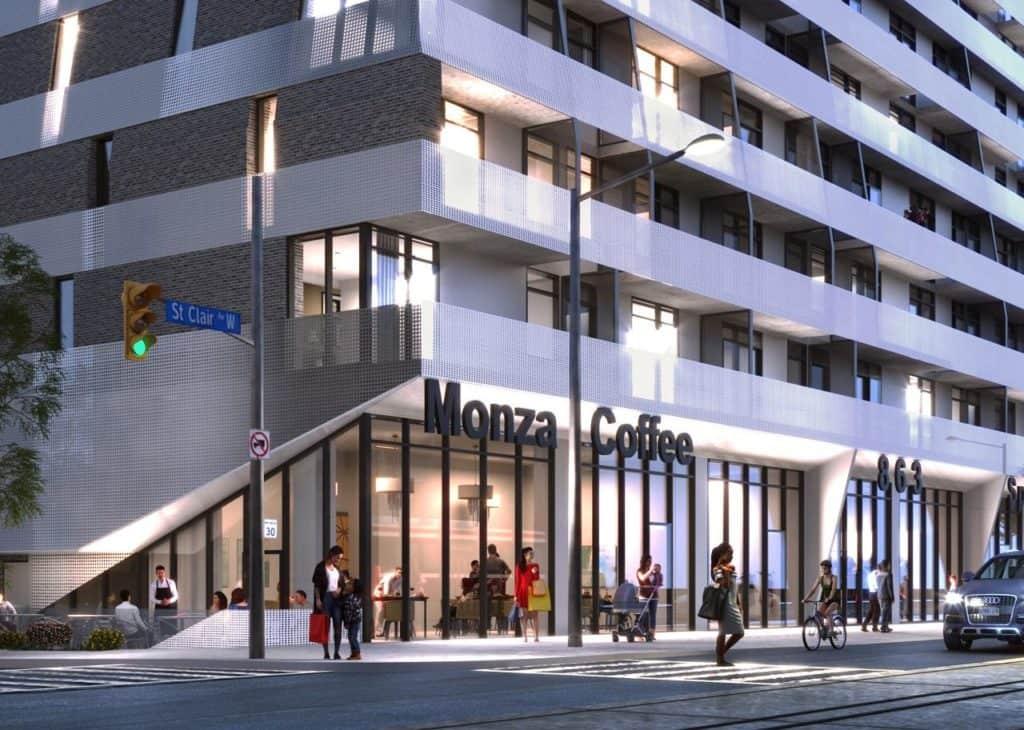 Monza Condos - Street Level View - Exterior Render