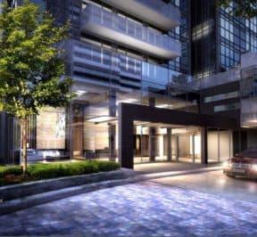SkyCity Condos - Lobby Entrance - Exterior Render