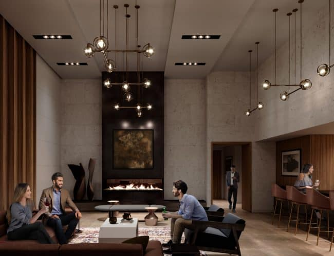Stockyards District Residences - Party Room - Interior Render