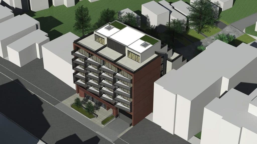 The Lookout Condominiums - Bird's Eye View - Exterior Render