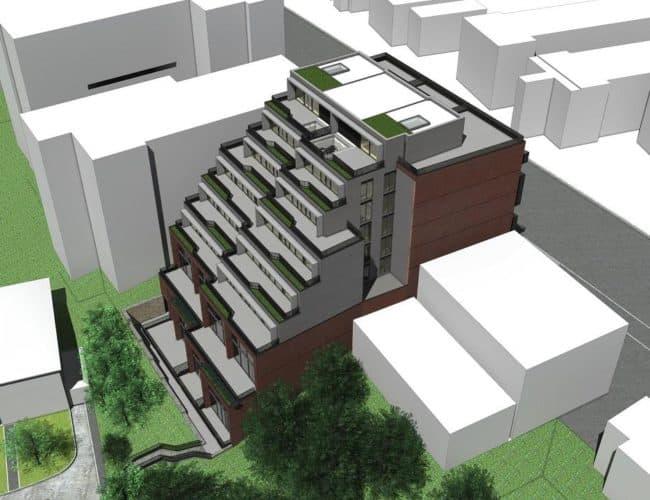 The Lookout Condominiums - Bird's Eye View - Exterior Render