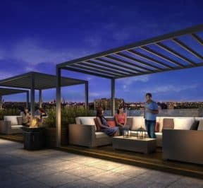 Rise Condos - Cabanas on the Podium Roof Terrace - Exterior Render
