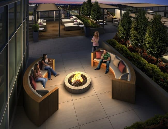 Rise Condos - Firepit on the Podium Roof Terrace - Exterior Render