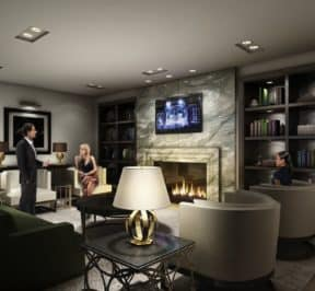Rise Condos - Fireplace in the Lounge - Interior Render