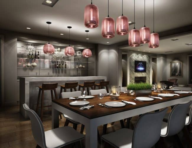 Rise Condos - Party Room Dining and Bar - Interior Render