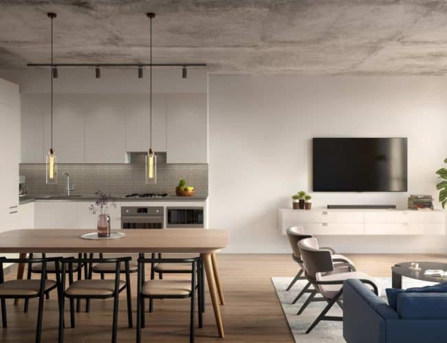 The Junction House - Suite - Living and Dining - Interior Render