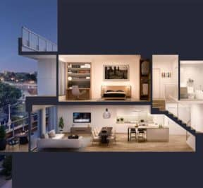 The Junction House - Suite - Side View - Interior Render