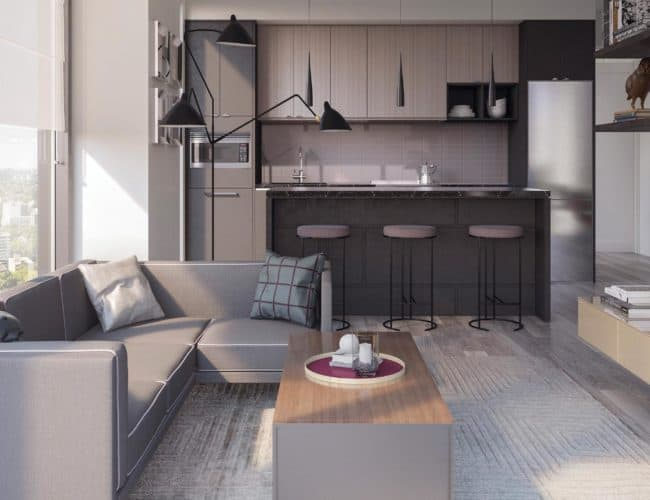 Rodeo Drive Condos - Living and Dining - Interior Render