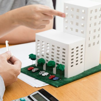 small building modal on table