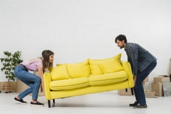 two person planing to move furniture