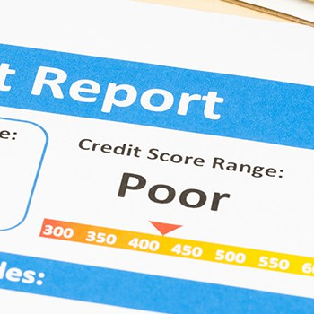 Report showing poor credit