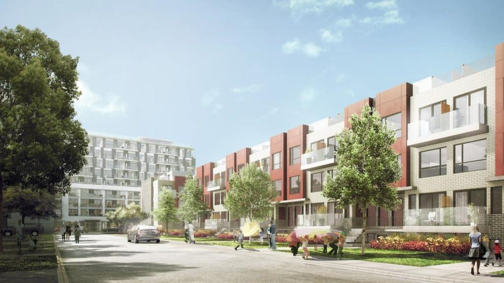 Danforth Square Towns - Street Level View - Exterior Render